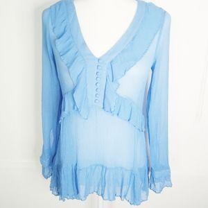 Sundance Catalog Slate Blue Silk Ruffle Blouse S